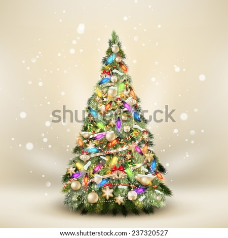 Christmas fir tree on elegant beige. EPS 10 vector file included - stock vector