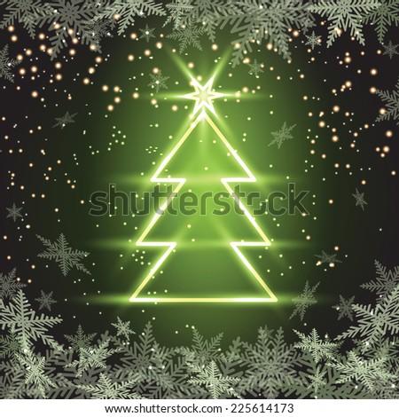 Christmas fir tree on green background. Vector illustration.  - stock vector