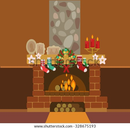 Christmas fireplace and Christmas socks. Vector flat illustration - stock vector