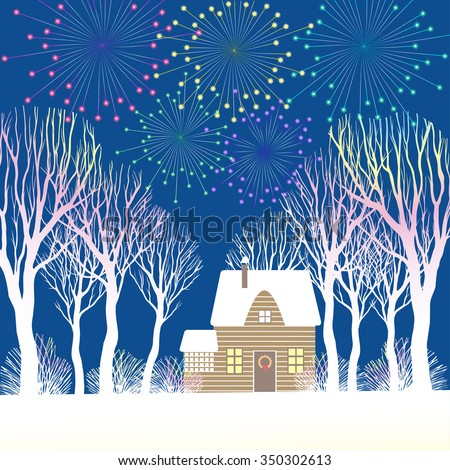 Christmas fireworks above the house among the trees and bushes. Vector illustration. - stock vector