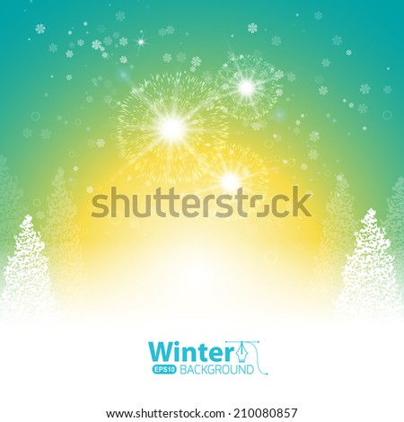 Christmas fireworks, banner with holidays greeting  - stock vector