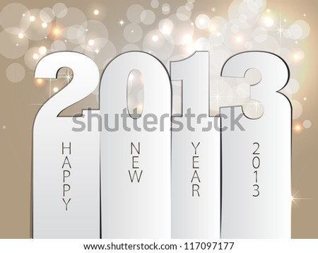 Christmas flakes Happy New Year 2013 vector card - stock vector