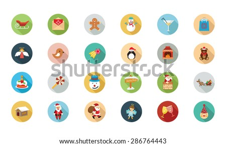 Christmas Flat Colored Icons 2  - stock vector