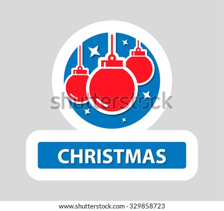 Christmas Flat Icon With Text - stock vector