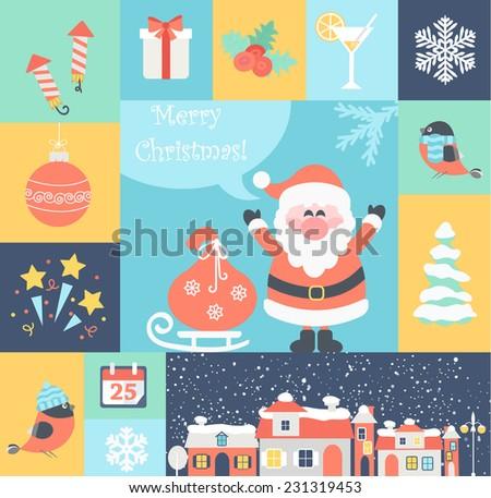Christmas flat icons set. Vector illustration. - stock vector