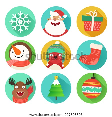 Christmas flat icons set with Santa Claus, gift, deer, snowman, christmas stocking, tree, bullfinch, snowflake and christmas ball. Vector colorful illustration in flat design style isolated on white - stock vector