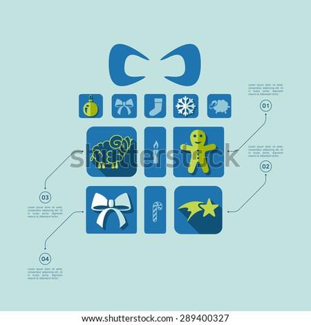 Christmas flat infographic - stock vector