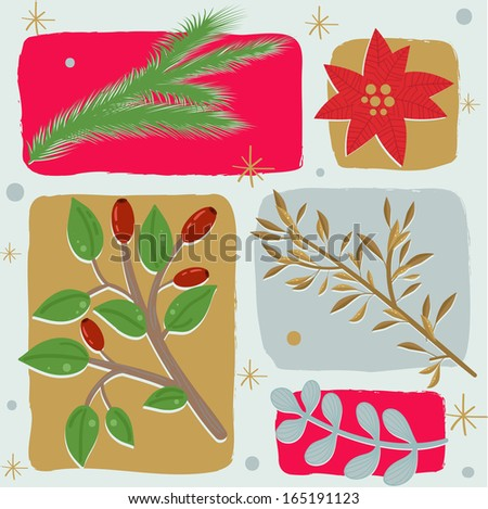 Christmas floral seamless background - stock vector