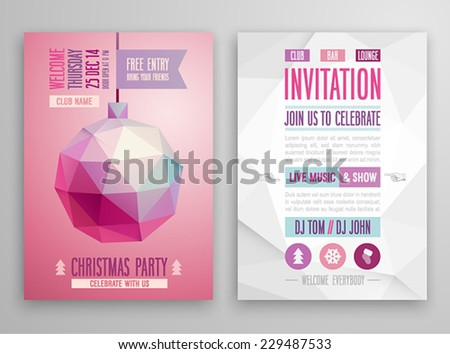 Christmas flyer - geometric style. - stock vector