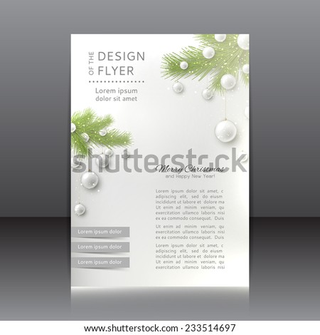 Christmas flyer with with Christmas tree and Christmas toys. Vector design of Christmas flyer for your design. - stock vector