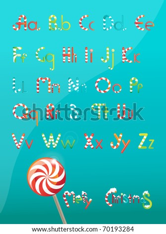 Christmas font color, from candy and lollipops - stock vector
