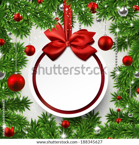 Christmas frame background with fir twigs and red balls. Round paper label on gift bow. Vector illustration.  - stock vector