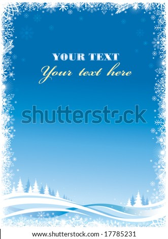Christmas frame. Blue version. - stock vector
