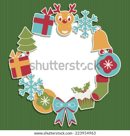 Christmas frame decoration with ornaments and space for your text - stock vector