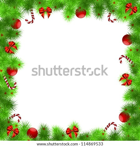 christmas frame, green needles with red balls and ribbons, white background - vector illustration, eps 10 - stock vector