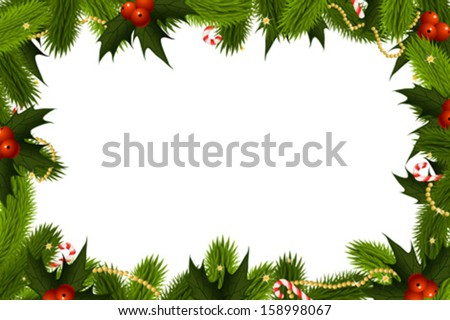 Christmas Frame Template with holly candy cane and decoration - stock vector