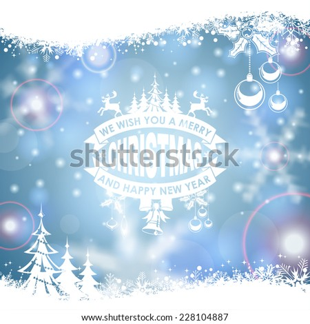 Christmas Frame with Retro Label, Tree, Deer, Bauble and Snowflake on Blurred Bokeh Background. Vector Template for Flyers and Brochure. - stock vector