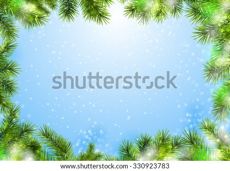 Christmas frame with winter background. - stock vector