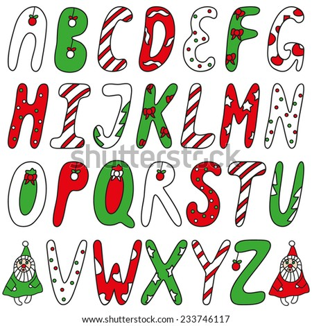Christmas funny red green white ABC with fantasy letters and Santa Claus - stock vector