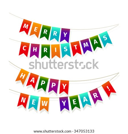 Christmas garland of flags isolated on white background - stock vector