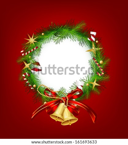 Christmas garland with bells and holly berry. Vector - stock vector