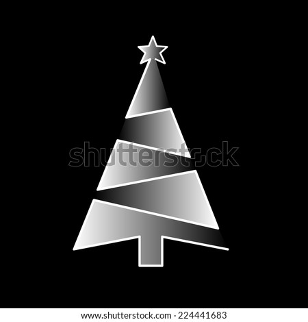 Christmas geometrical tree with the star on the black background. Abstract card for winter holidays. - stock vector