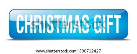 christmas gift blue square 3d realistic isolated web button - stock vector