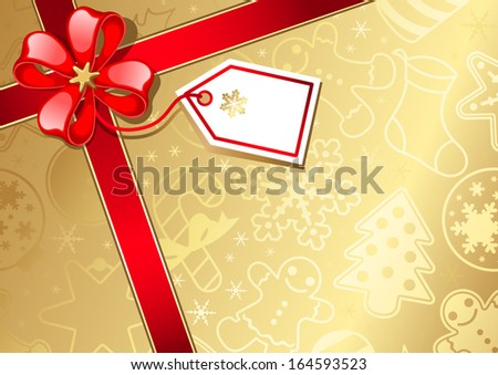 Christmas gift box and gift tag - stock vector