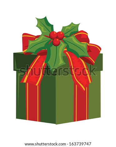 christmas gift box decorated with holly berry - stock vector