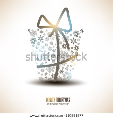 Christmas gift box made from snowflakes. Christmas background - stock vector