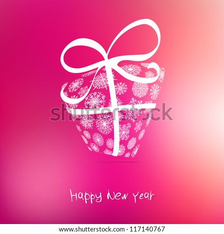 Christmas gift box made from snowflakes on pink. + EPS8 vector file - stock vector