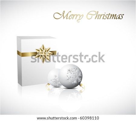 Christmas  Gift box with two christmas decorations (vector) - stock vector