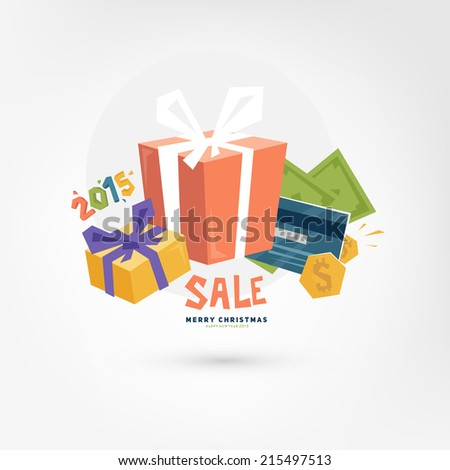 Christmas Gift Boxes. Sale Concept. Online Payments Service Icon. Credit Card and Money. Online Shopping. - stock vector