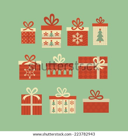 christmas gift boxes set. vector illustration - stock vector