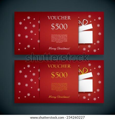 Christmas gift card voucher template with traditional background, present and space for your text. Eps10 vector illustration - stock vector
