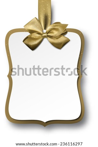 Christmas gift card with golden bow. Vector illustration.   - stock vector