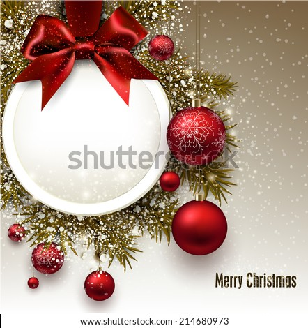 Christmas gift card with red ribbon and red Christmas baubles. Vector illustration. - stock vector