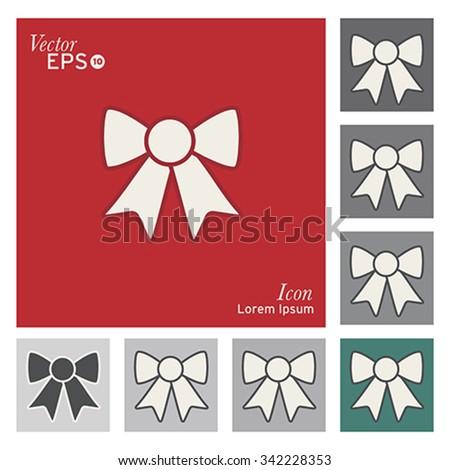 Christmas gift ribbon icon - vector, illustration. - stock vector