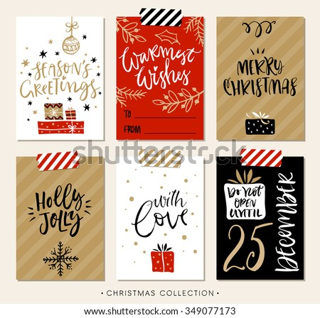 Christmas gift tags and cards with calligraphy. Hand drawn design elements. Handwritten modern lettering. - stock vector