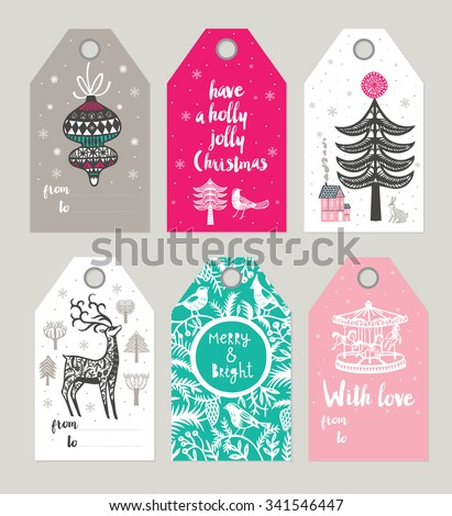 Christmas Gift Tags and Labels. Vector illustration - stock vector