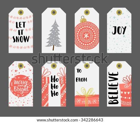 Christmas gift tags set. - stock vector