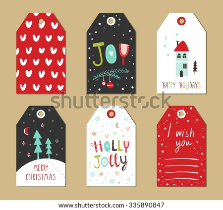 Christmas gift tags set. Vector illustration. Creative Hand Drawn textures for winter holidays. Bright colors.  - stock vector