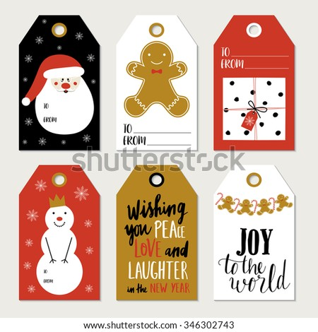 CHRISTMAS GIFT TAGS, STICKERS AND LABELS. Template for Greeting Scrap booking, Congratulations, Invitations, Planner, Diary, Notes. - stock vector