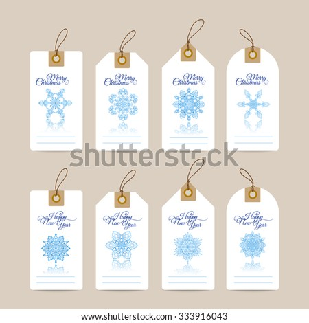 Christmas gift tags with hand drawn decorative elements. Blue snjwflakes on white background. - stock vector