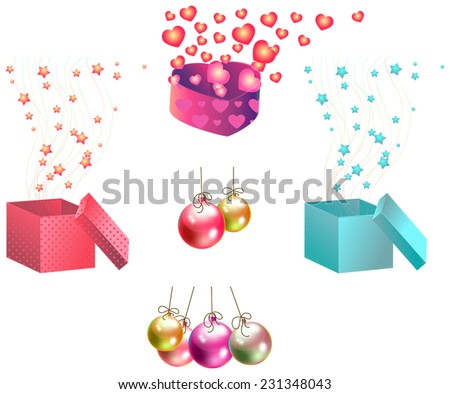 Christmas gifts and ornaments icon set, create by vector  - stock vector
