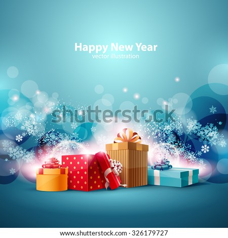 Christmas gifts boxes on  blue background. - stock vector
