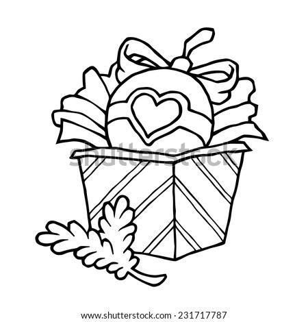 Christmas gifts boxes with ribbons tied funny doodles drawn as vector black and white line is suitable for decoration printing design or congratulation - stock vector