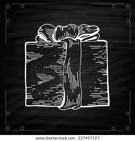 Christmas Gifts Chalkboard Style. Outline Vector illustration gift boxes with bows and ribbons. Chalkboard drawing of Christmas Gift. Graphic Engraving Style - stock vector