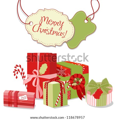 Christmas gifts in retro style. Creative packaging - stock vector