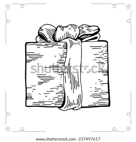 Christmas Gifts isolated on white background. Outline Vector illustration gift boxes with bows and ribbons. Vector illustration. Graphic Engraving Style. EPS 8 - stock vector